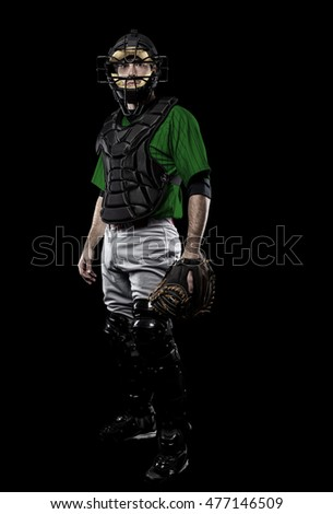 Catcher Player with a green uniform on a black background.