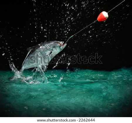 Catching a big fish with a fishing pole at night