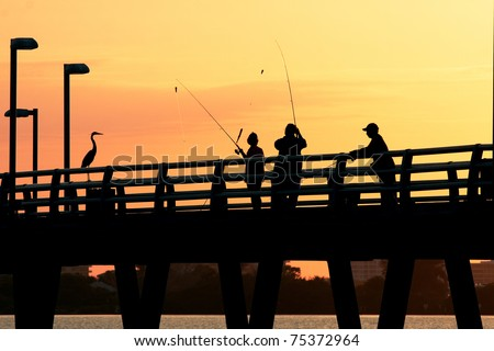 Catching Fish at Sunset,Sarasota,Florida - stock photo
