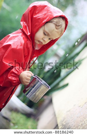 Catching raindrops - stock photo