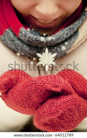 Catching snowflakes - stock photo