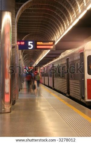 Catching The Train - stock photo