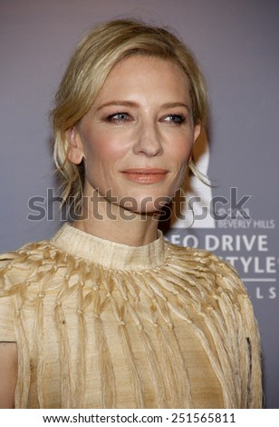 Cate Blanchett at the Rodeo Drive Committee Inducts Catherine Martin Into The Rodeo Drive Walk Of Style held at the Greystone Mansion in Los Angeles on February 28, 2014 in Los Angeles. - stock photo