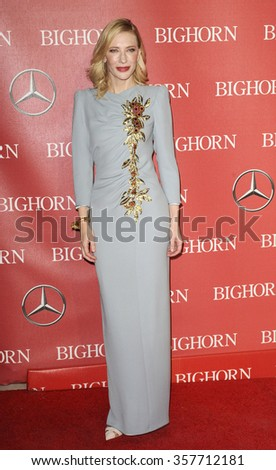Cate Blanchett at the 27th Annual Palm Springs International Film Festival Awards Gala held at the Palm Springs Convention Center in Palm Springs, USA on January 2, 2016. - stock photo