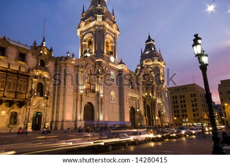 catedral National Cathedral at night on plaza de armas also known as plaza mayor lima peru - stock photo