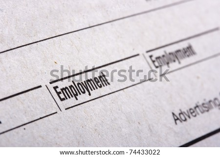 Categories in the Sunday newspaper - the employer. - stock photo