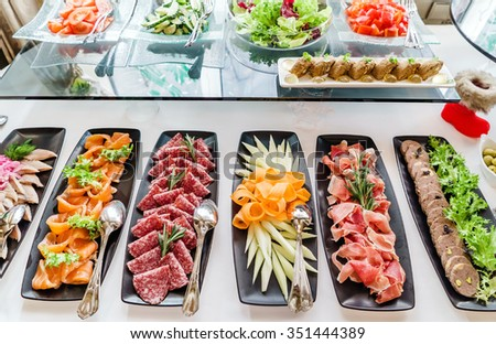 catering banquet table - stock photo