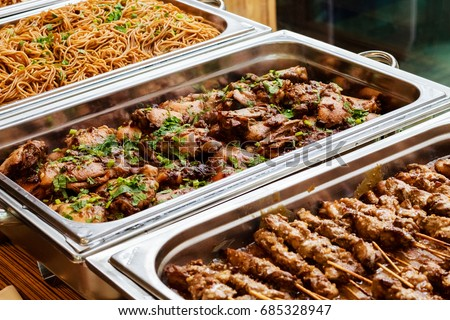 catering buffet food dish meat colorful stock photo