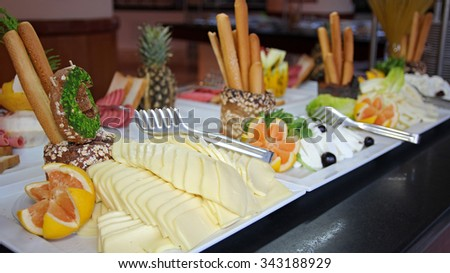 Catering Buffet Food in a Luxury Restaurant. Catering buffet food indoor in luxury restaurant. - stock photo