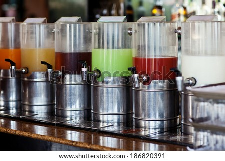 catering buffet food indoor in luxury restaurant with drinks - stock photo