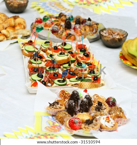 Catering buffet style - different light snack and sandwiches