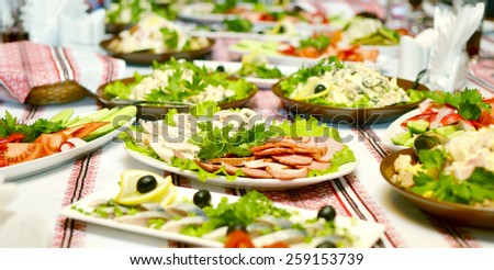 Catering food at a wedding party  - stock photo