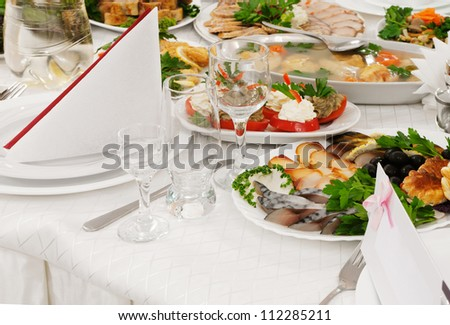 Catering food at a wedding party - a series of RESTAURANT images. - stock photo