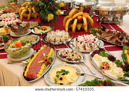 Catering food at a wedding party or celebration New Year`s day - stock photo