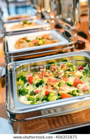 catering food in restaurant, luxury hotel. - stock photo