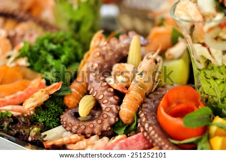 Catering food, sea food, close up  - stock photo