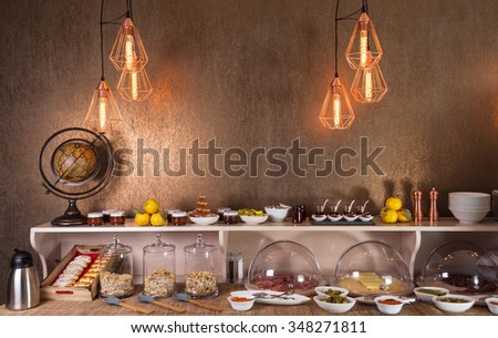 Catering food table - stock photo