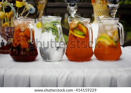 Catering juice close up - stock photo