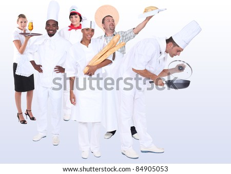 Catering professionals, photo-montage - stock photo