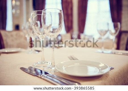 Catering restaurant service. set table  - stock photo