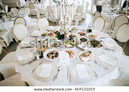 Catering Service Table With Food And Drink At Restaurant Before Wedding Party