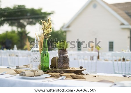 catering set up at the wedding in oldie rustic style - stock photo