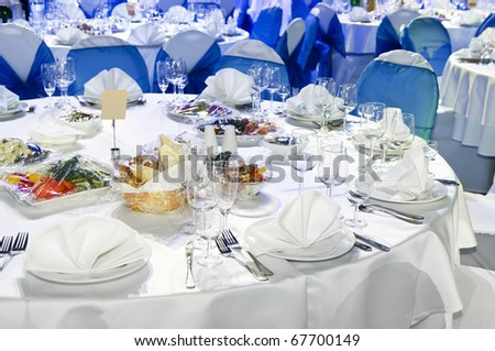 catering table set service and dish with silverware restaurant setting for party