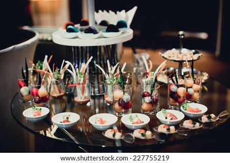 catering table set service food - stock photo