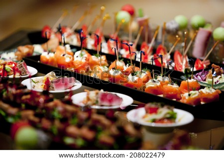 catering table set service food japan - stock photo