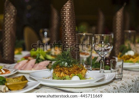 Catering table set service with glass stemware