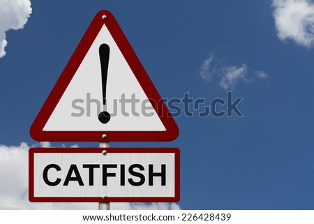 Catfish Caution Sign, Red and White Triangle Caution sign with word Catfish with sky background