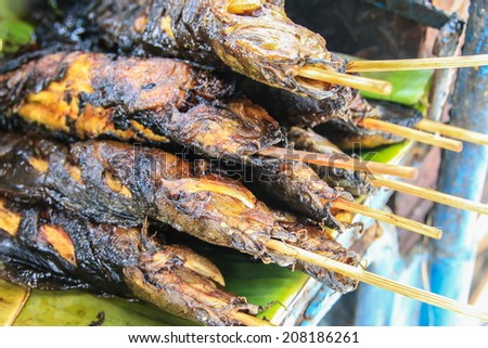 Catfish Grilled,Thai Food Background - stock photo