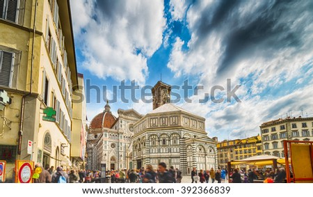 Cathedral and baptistery in Florence, Italy