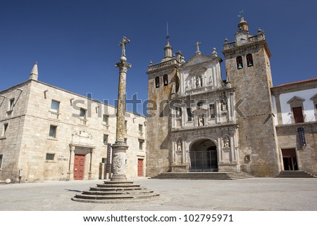 Cathedral and Bishop's palace (Gr�£o Vasco Museum) in Viseu, Portugal. - stock photo