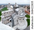 Cathedral and Campo dei Miracoli viewed from the leaning tower, Pisa, Italy. - stock photo