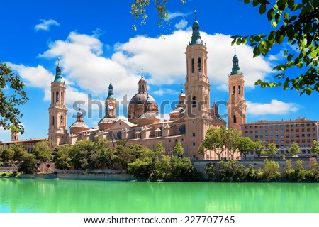 Cathedral and Ebro river in Zaragoza. Aragon, Spain - stock photo