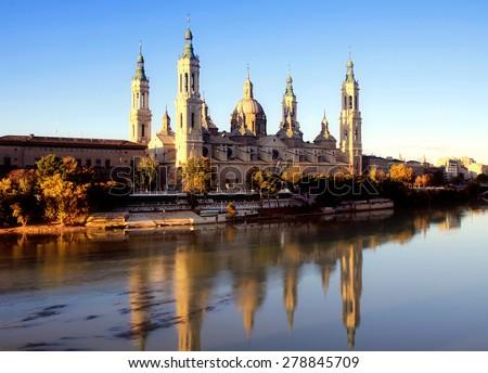 Cathedral and Ebro river in Zaragoza. Aragon, Spain - stock photo