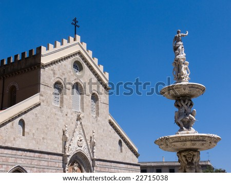 cathedral and fountain town of Messina - stock photo