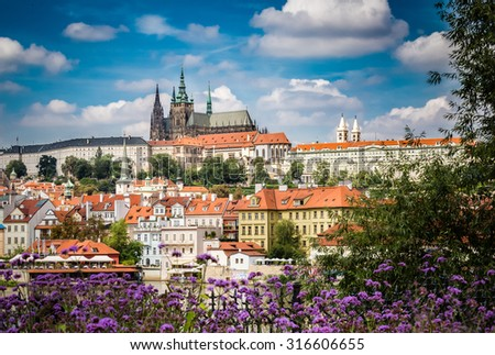 Cathedral and government building of Prague - stock photo