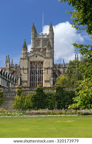 cathedral and historic Bath Abbey, city of Bath, Somerset, England - stock photo