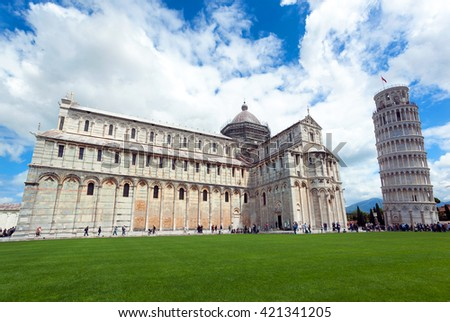 Cathedral and leaning tower at Piazza dei Miracoli in Pisa, Italy.