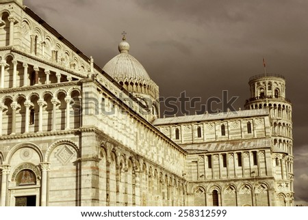 cathedral and Leaning tower, Pisa. Tuscany, Italy - stock photo