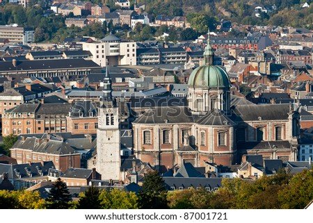 Cathedral and the city of Namur, Wallonia, Belgium - stock photo