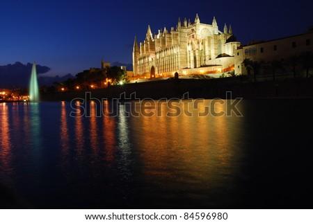 cathedral at night, Majorca - stock photo