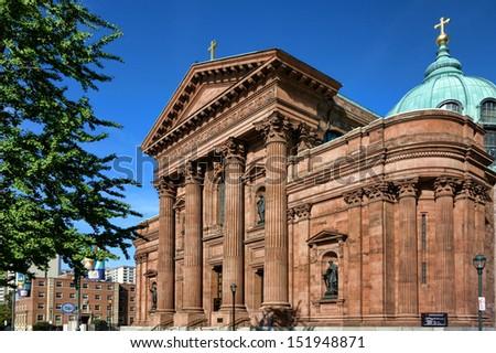 Cathedral basilica of Saints Peter and Paul Roman Catholic gothic church facade in Philadelphia Pennsylvania - stock photo