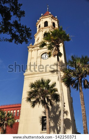 Cathedral Basilica of St Augustine. The cathedral has a long history. Destroyed several times by fire, the basilica has been rebuilt each time - stock photo