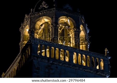 Cathedral bell tower in old medieval town Korcula  by night. Croatia, Europe. - stock photo