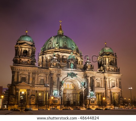 cathedral Berlin at evening time - stock photo