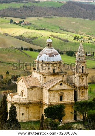 Cathedral big in tuscany landscape - stock photo