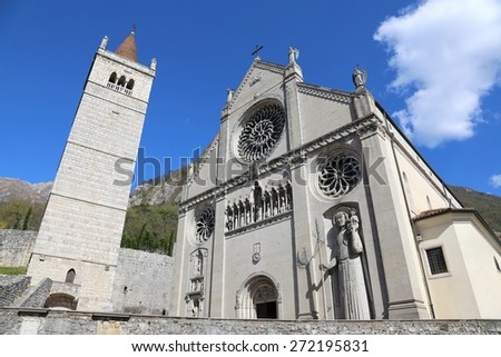 Cathedral Church of the town of GEMONA in North Italy rebuilt after the earthquake - stock photo